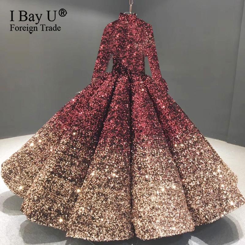 Burgundy Golden 2020 France Luxury Sparkling Sequins Long Sleeve Wedding Dress Sexy Sweetheart Ball Gown Robe De Mariée