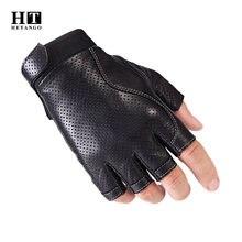 Мужские Тактические Кожаные перчатки износостойкие без пальцев