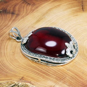 Image 4 - Real Pure 925 Sterling Silver Pendant For Women With Garnet Gemstones Antique Retro Spiritual Meditation Jewelry