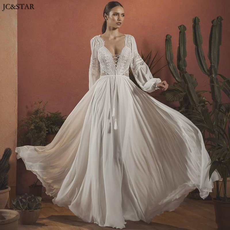 Vintage Bohemian Wedding Dresses V Neck Long Sleeves Lace Chiffon Bridal Gowns 2020 Sexy Backless Floor Length   Gelin Elbisesi