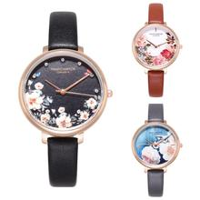 Women Flower Print Faux Leather Strap Round Dial No Number Analog Quartz Watch Reloj mujer Round Dial Adjustable Relojes de puls faux leather bnad number watch