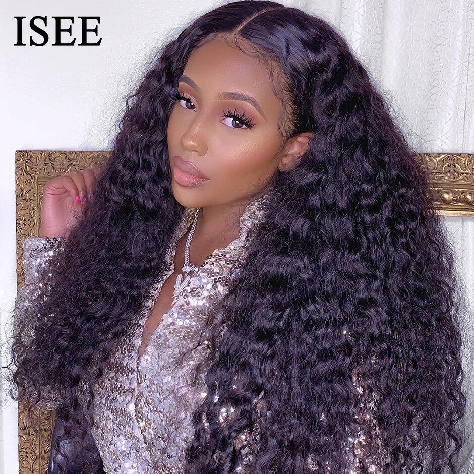 Peluca con cierre de encaje 4x4 para mujer, extensión de cabello humano con onda de encaje holgada, 150% de densidad, ISEE Hair