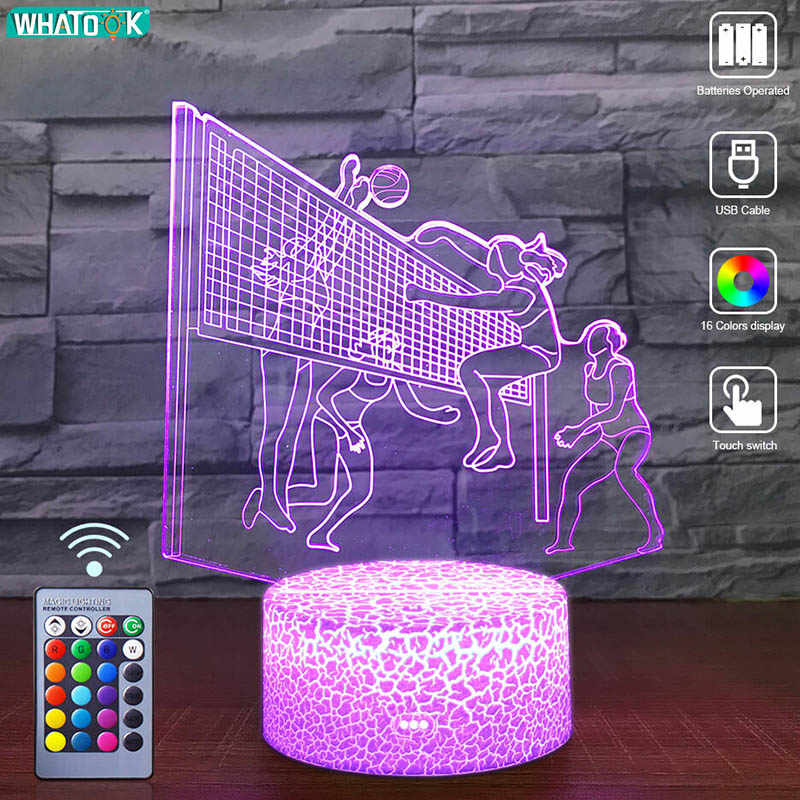 LED 3D Nachtlampje Volleybal Lover Remote Nachtlampje Baby Tafel Bureaulamp Kind Verjaardag Jongen Vriend Sport Gift Party Thuis decor