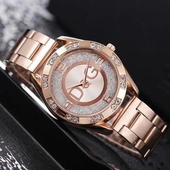 Women's Watches New Famous Luxury Brands Women Watch Fashion Rhinestone Stainless Steel Quartz Ladies Wristwatches Reloj Mujer 1
