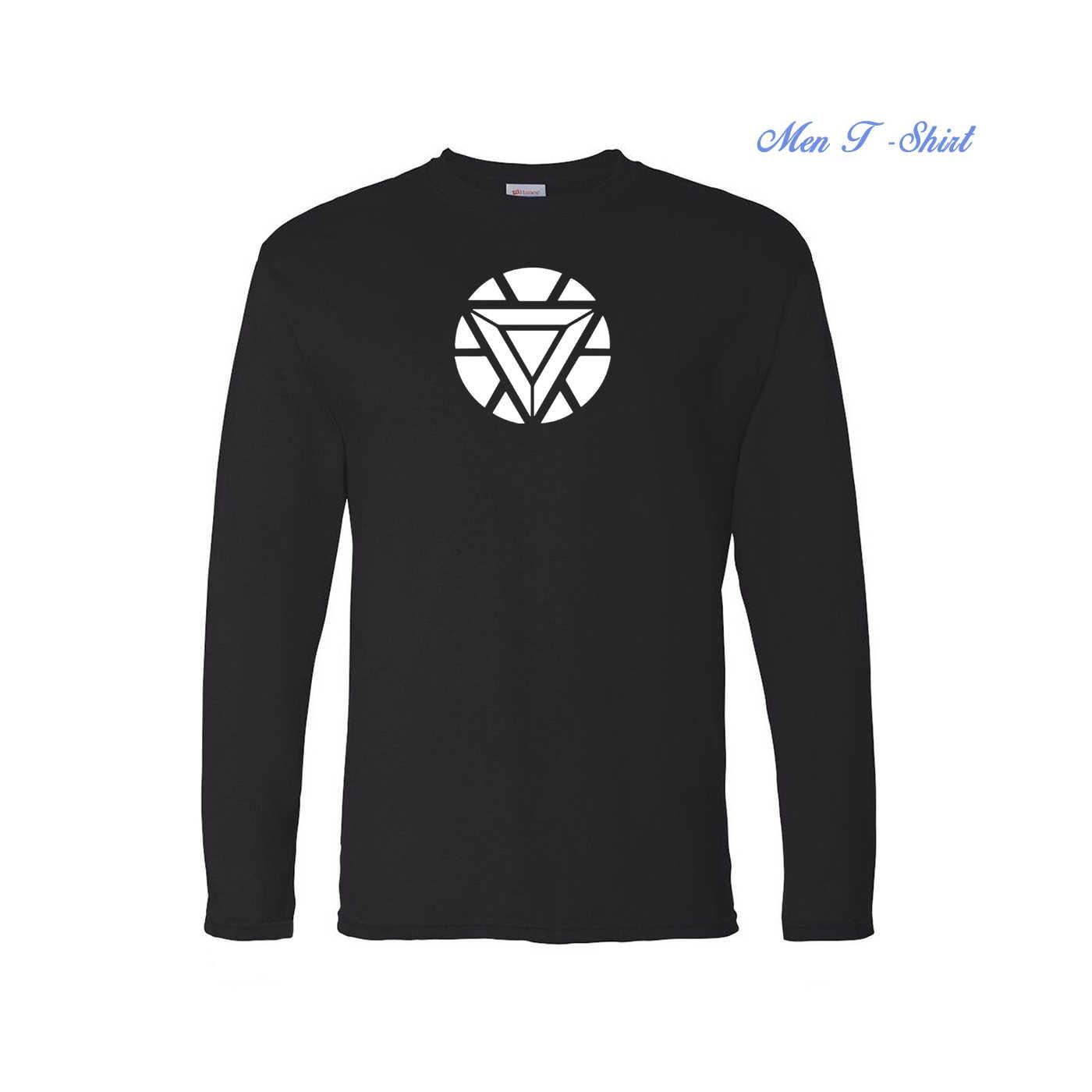 아이언 맨 토니 스탁 망 t 셔츠 아크 반응기 인쇄 로고 탑 티셔츠 코튼 캐주얼 긴팔 티셔츠 패션 핫 세일 스웨트