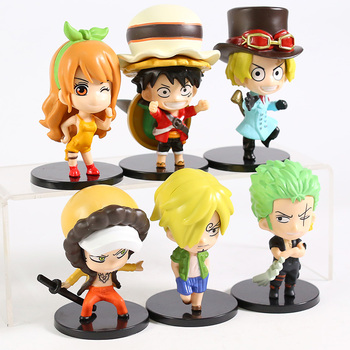 One Piece Stampede Luffy Zoro Sanji Sabo Nami Law Q Version PVC Figures Toys 6pcs/set 2