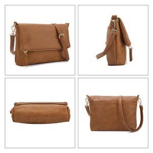 Image 5 - Bolso de hombro suave para mujer, bandolera con solapa, bolso de mano de PU marrón, tipo sobre, bandolera sencilla para uso diario, CT30080