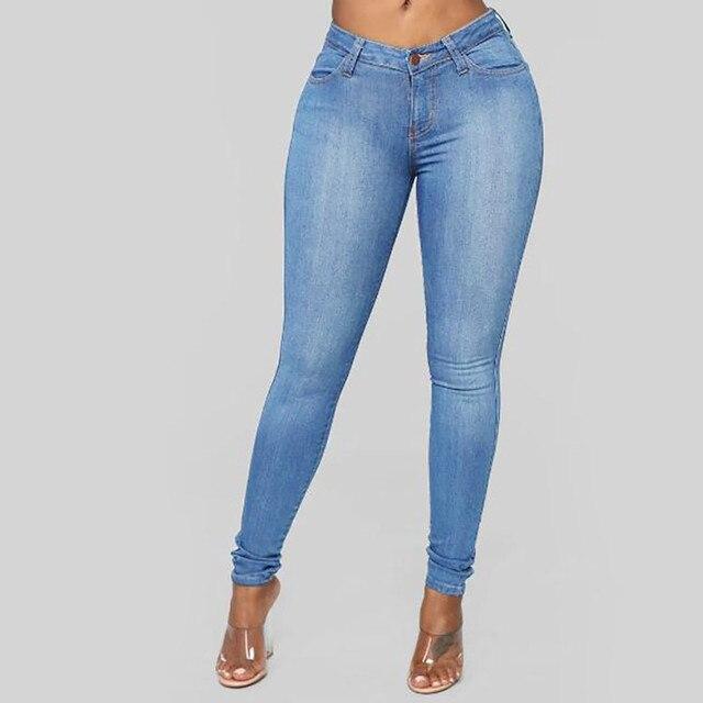 2020 High Waist Women Jeans Buttons Female Pant Slim Elastic Plus Size Stretch Jeans Plus Size Denim Blue Skinny Pencil Pant#G3