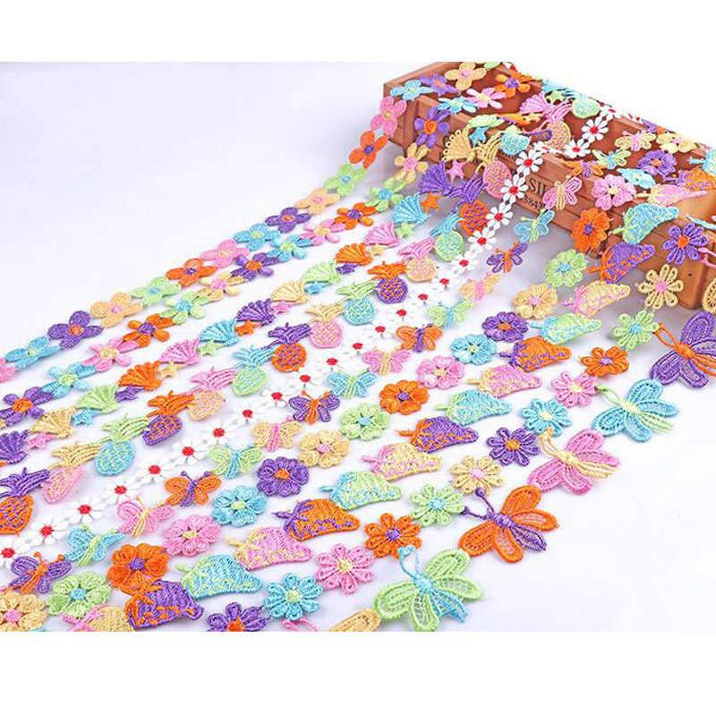 1 متر الملونة بتلات الدانتيل البوليستر المياه للذوبان المطرزة معطف DIY بها بنفسك المواد اليدوية الملابس اليدوية