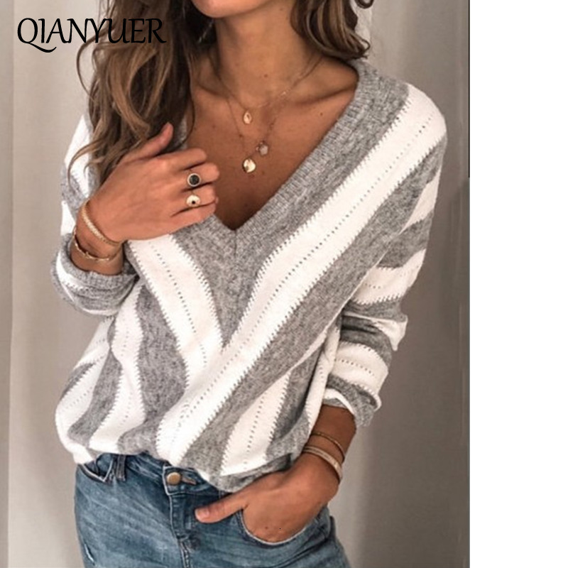 Autumn Long Sleeve Jumper Fashion Striped Knitted Pullover Women Blouse Sexy V Neck Thin Sweater Femme Knitwear Pull Tops Women