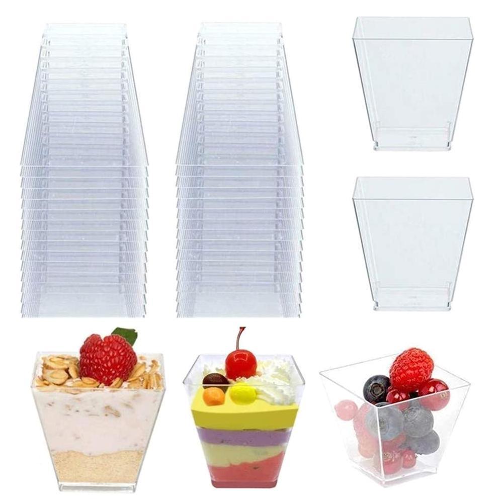 50 шт одноразовые пластиковые чашки 60 мл Прозрачный трапециевидный контейнер для еды для Желе Йогурт муссы Десерт инструмент для выпечки