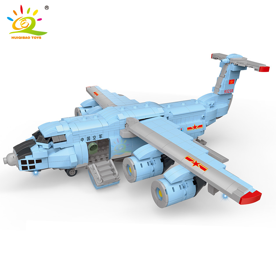 HUIQIBAO 1305pcs Emergency Rescue Fighter Building Block Airplane Military city hospital plane truck car Bricks children Toy image