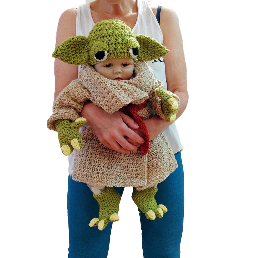 Yoda Style Newborn Infant Baby Photography Prop Crochet Knit Costume Set Handmade Toddler Cap Outfits for Baby Shower Gift (12)