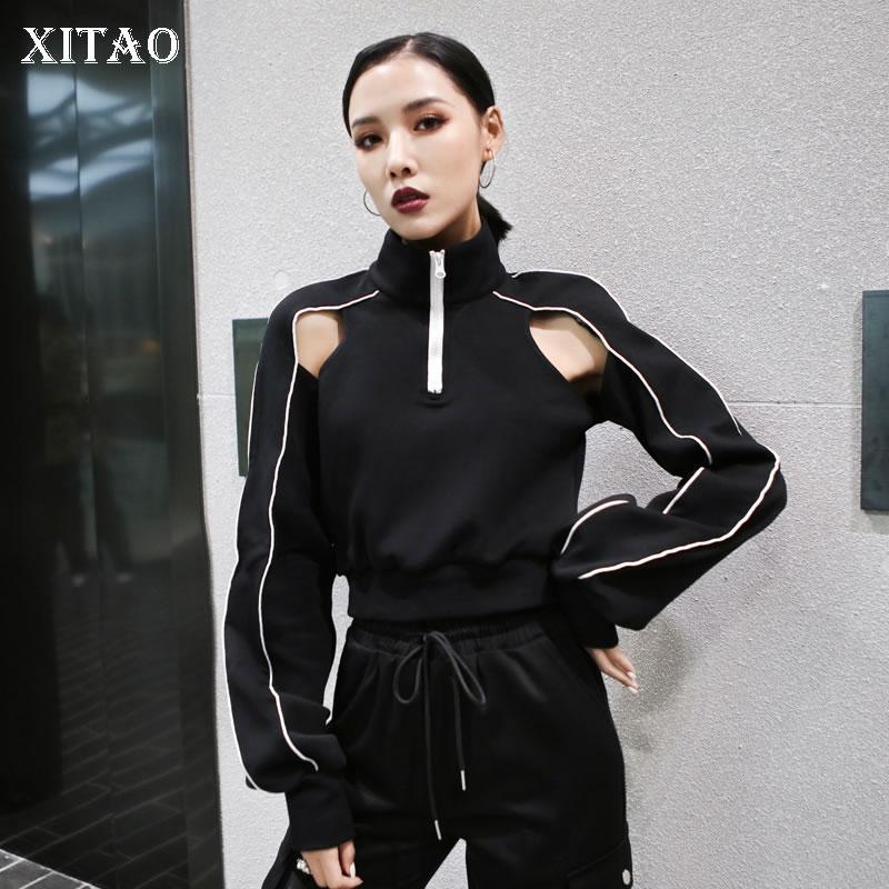 XITAO Off Shoulder Women Sweatshirt Fashion Women Full Sleeve Black Goddess Fan Sexy Style Minority Patchwork Sweatshirt ZLL4713