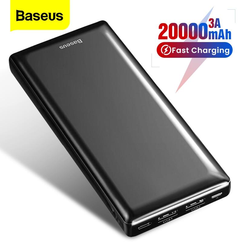 Baseus 20000mAh Power Bank 20000 MAh  Powerbank Portable External Battery Pack Charger Poverbank  For IPhone 11 Xiaomi Mi Samsun
