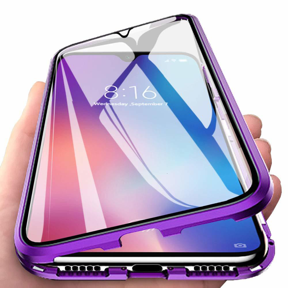Magnetic Adsorption <font><b>Metal</b></font> Phone <font><b>Case</b></font> For Xiaomi <font><b>Redmi</b></font> Note 7 8 <font><b>K20</b></font> Pro Mi 9 T CC Mi9 SE Double Sided Tempered Glass Magnet Cover image