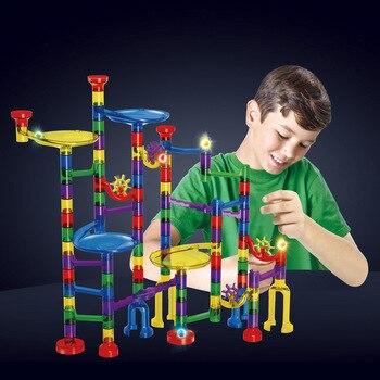 Bloques de construcción DIY de mármol de 122 Uds., bloques de construcción para carrera, bloques de laberinto, bloques de construcción, juguetes educativos para niños