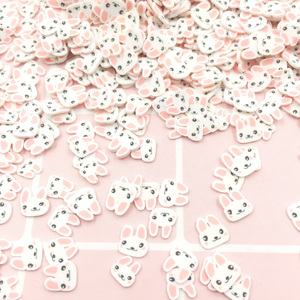 50g Cute Rabbit Polymer Hot Clay Slices Sprinkles for Crafts DIY Slime Material Phone Nail Art Decoration Accessories:6mm