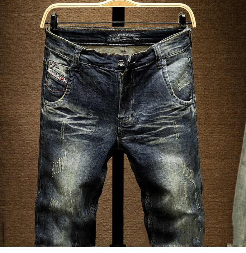 KSTUN Mens Dark Blue Jeans Pants Denim Slim Fit Elastic Casual Punk Jeans Men High Street Vintage Scratched Fashion Pockets Designer 13