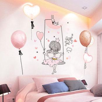 [shijuekongjian] Cartoon Girl Moon Wall Stickers DIY Balloon Mural Decals for Kids Rooms Baby Bedroom House Decoration [shijuekongjian] hot air balloon wall stickers diy cartoon wall decals for kids rooms baby bedroom shop glass decoration