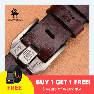 NO.ONEPAUL Genuine Leather For Men High Quality Black Buckle Jeans Belt Cowskin Casual Belts Business Belt Cowboy waistband(China)