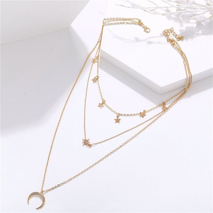 New Fashion Jewelry Pentagram Pendant Clavicle Chain Vintage Star Crescent Three-Layer Women Necklace Choker 4O24 (24)