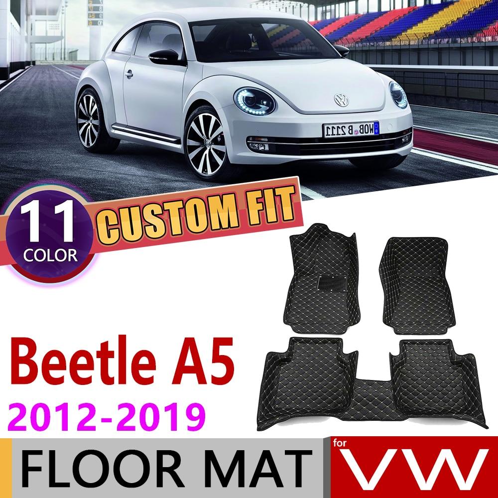 Custom Car Leather Floor Mat For Volkswagen VW Beetle A5 2012~2019 5 Seats Foot Pad Carpet Accessories 2013 2014 2015 2016 2017