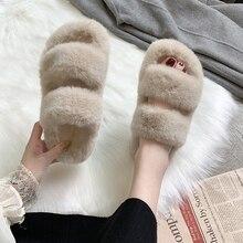 Зимние женские домашние пушистые тапочки; коллекция года; модная теплая обувь с искусственным мехом; женские слипоны на плоской подошве; женские пушистые шлепанцы; цвет черный, розовый; удобная домашняя обувь