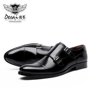 Image 2 - DESAI fait à la main hommes en cuir véritable robe de haute qualité Design italien marron bleu couleur poli à la main bout pointu chaussures de mariage