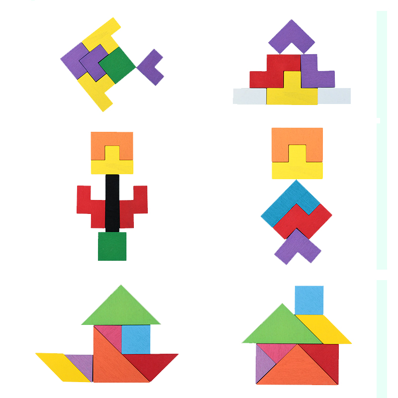 3 in 1 3D Puzzle Wooden Tangram Children Pre-school Magination Intellectual Educational Math Toys Game Puzzle Bloacks for kids 6