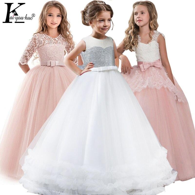 Vestidos de festa infantis, vestidos de festa elegantes para a usar à noite, vestido de princesa do verão de 2019, traje com estampa de flores, fantasia, vestido de noiva para meninas