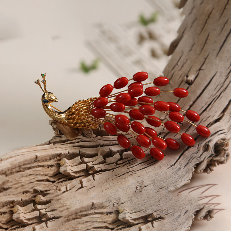 Sea Bamboo Coral Red Peacock Brooch Pendant Precious Gift for Women