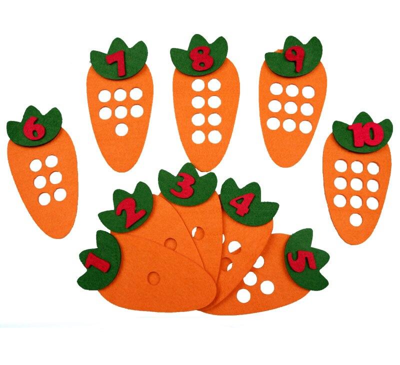 1-10 Монтессори обучающая игрушка для детей головоломка ручной работы DIY игрушка детский сад морковь яблоко дерево матч Цифровое обучение GYH - Цвет: Carrot