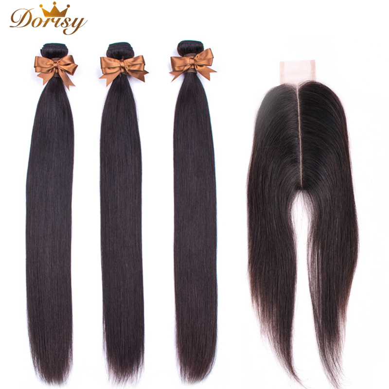 2*6 Lace Closure With Bundles Straight Human Hair 3 Pcs Brazilian Hair Bundles With Closure Middle Part Natural Color Non Remy-in 3/4 Bundles with Closure from Hair Extensions & Wigs    1