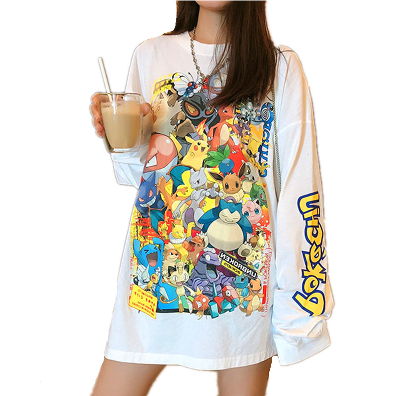 Women Sweatshirts Streetwear Pokemon Print Pullovers 2019 Spring Autumn Casual Long Sleeve O-Neck Tops Female Thin Anime Hoodies