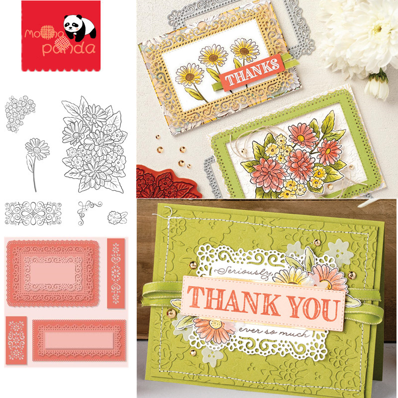 MP098 FLOWER LACE Frame Metal Cutting Dies And Stamps For Scrapbooking Steel Craft Die Cut Embossing Paper Card Album Stencil