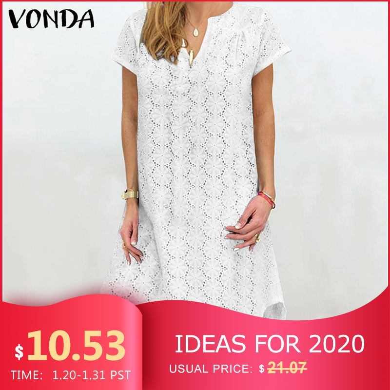 VONDA Summer Solid Dress Sexy Hollow Lace Party Mini Dress Women Bohemian Sundress 2019 Casual Asymmetrical Vestidos Plus Size