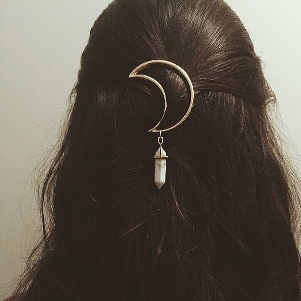 Details about  /Geometric Crystal Moon Hair Clips Barrette Hexagonal Pendant Hair Accessories