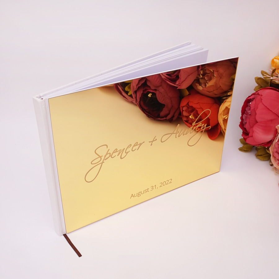 25*18 cm Custom Wedding Signature Guest Book Acrylic Mirror Cover Personalized Blank Scrapbook Party Gift
