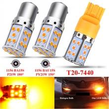 цена на 1PCS Car Turn Signal Light For Amber P21W LED 1156 BA15S PY21W BAU15S 3030 35SMD Bulb Canbus T20 7440 W21W LED Lamp Headlight