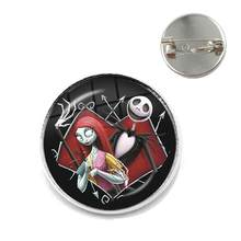 Nightmare Before Christmas Jack Skellington 20mm Glass Cabochon Brooches Christmas Gifts Collar Pins For Men Women Kids Gift(China)
