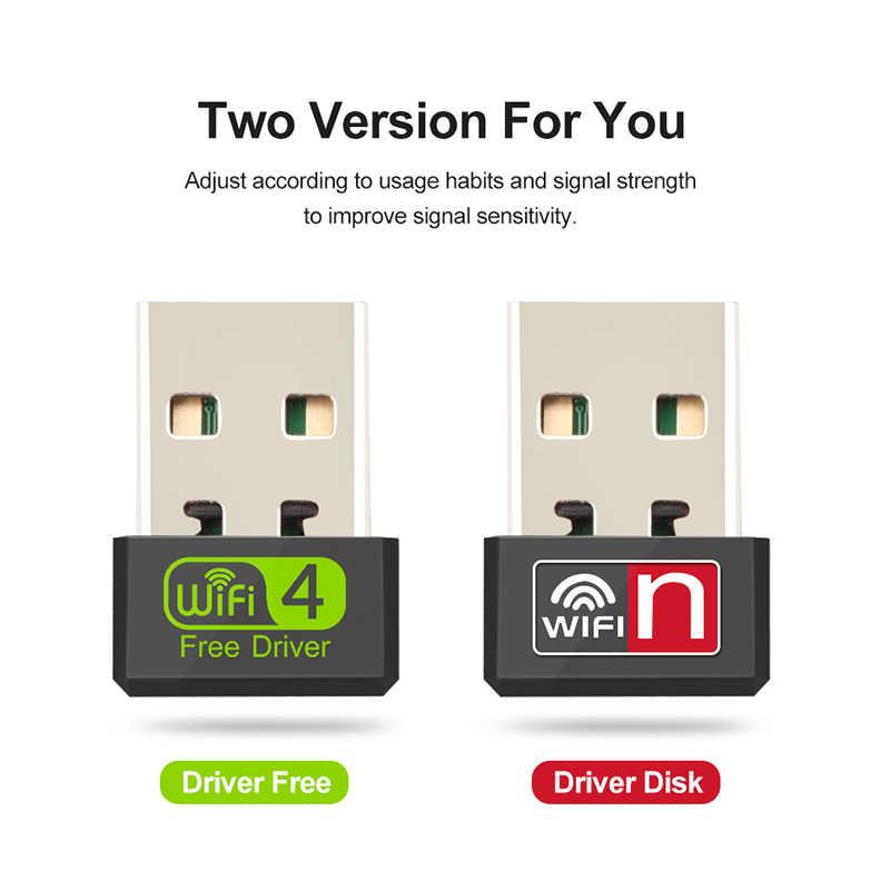 Mini wifi adaptador usb wifi adaptador usb motorista livre wi fi dongle 150 mbps placa de rede ethernet sem fio wi-fi receptor para pc