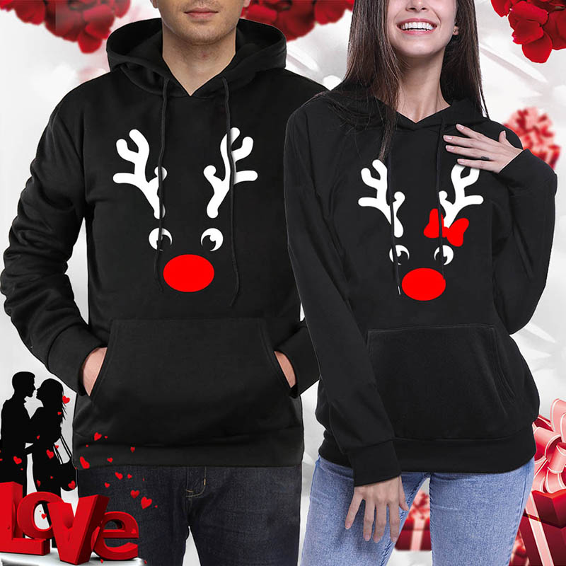 Xmas Couple Hoodies Pullover Women Antlers Printed Christmas Sweatshirt Men Winter Hoodies Casual Black Tracksuit Party Clothing