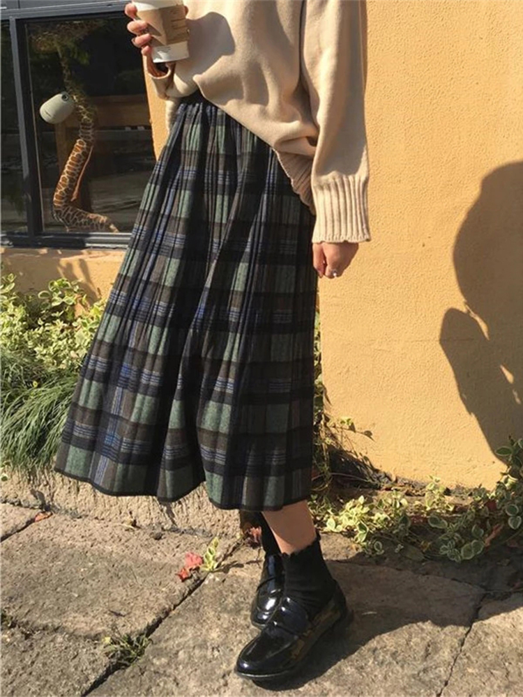 Vintage Wool Pleated Plaid Skirt Women High Waist Plus Size Long Skirt 2021 Autumn Winter Harajuku Female Party Skirt Streetwear