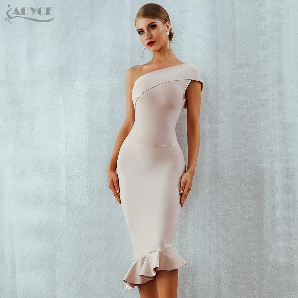 Adyce 2020 New Summer Women Bandage Dress Vestidos One Shoulder Sleeveless Ruffles Nightclub Dress Celebrity Evening Party Dress