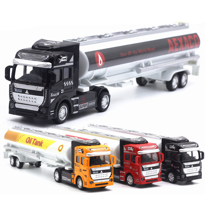 1:48 Alloy Truck Model Pull Back Car High Simulation Exquisite Diecasts & Toy Vehicles City Car Styling Oil Tank Truck TY0549