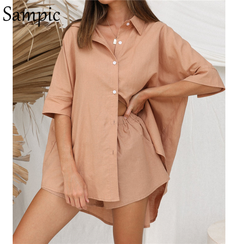 Sampic Summer Lounge Wear Casual Women Tracksuit Shorts Suit Loose Short Sleeve Shirt Tops And Mini Shorts Two Piece Set