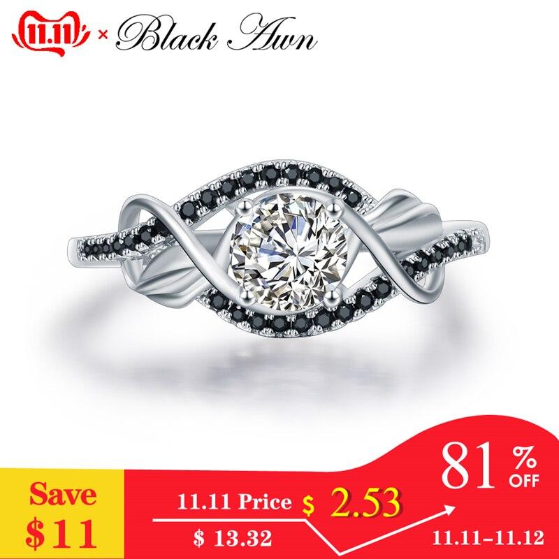 [BLACK AWN] 3.5 Gram 100% Genuine 925 Sterling Silver Jewelry Black&White Stone Wedding Rings For Women C307