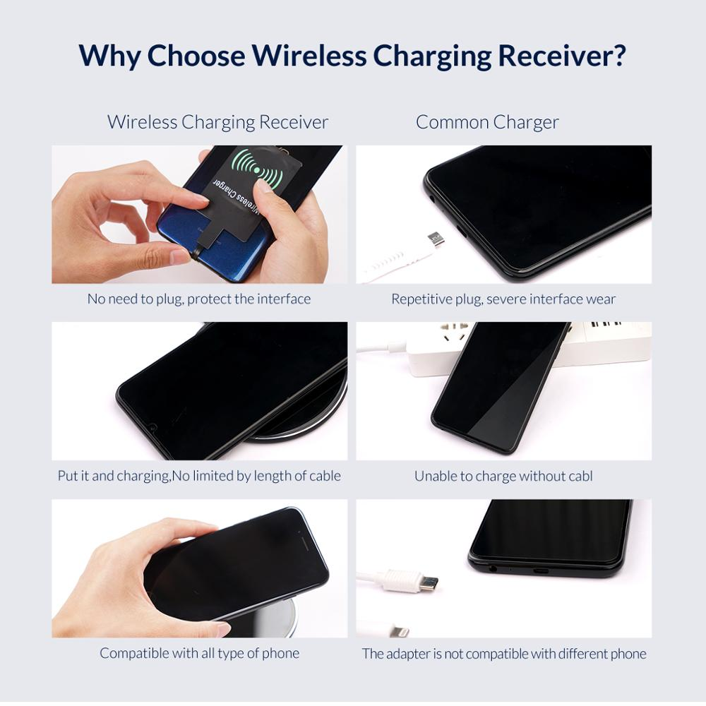 Image 2 - ORICO QI Wireless Charger Receiver For iPhone Wireless Charging Receiver for Micro USB Type c Phone-in Mobile Phone Chargers from Cellphones & Telecommunications