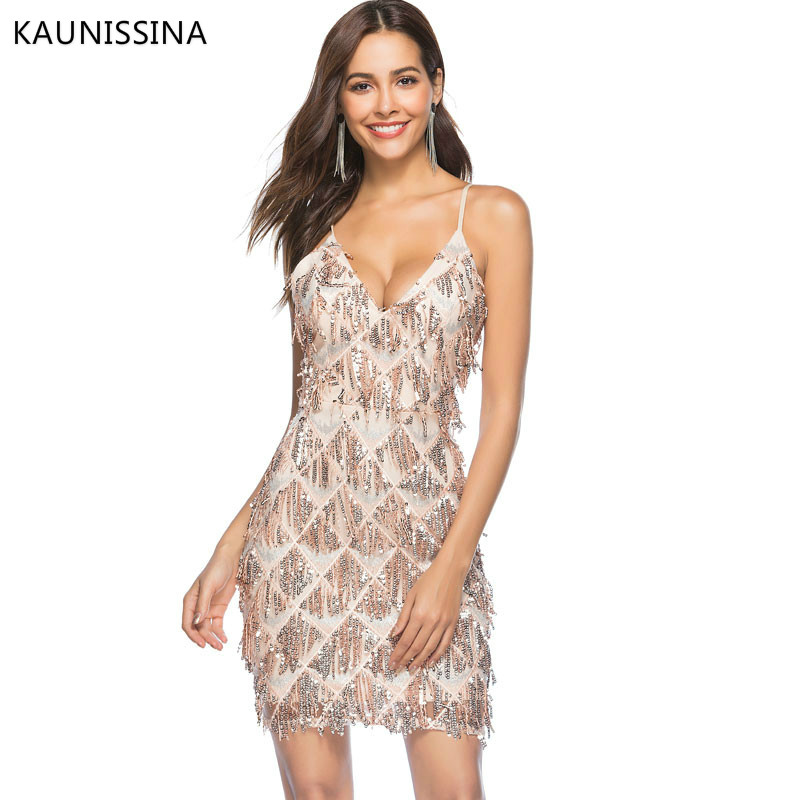 KAUNISSINA Sexy   Cocktail     Dress   Women Party Solid V Neck Pullover Sequins Spaghetti Strap Party Gown Homecoming   Dresses